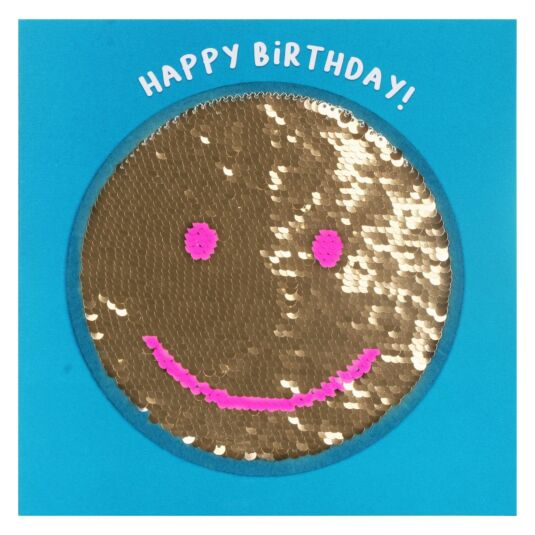 Shine Sequin Smiley Birthday Card