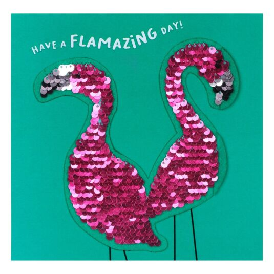 Shine Sequin Flamingo Card