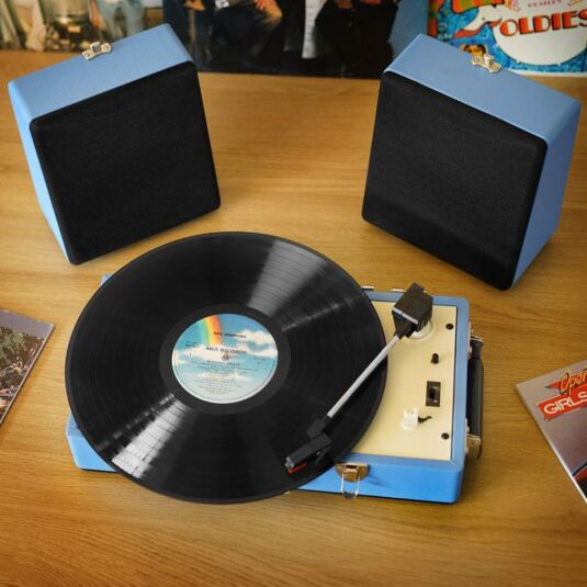 Retro Portable SRP030S Blue Record Player with detachable speakers