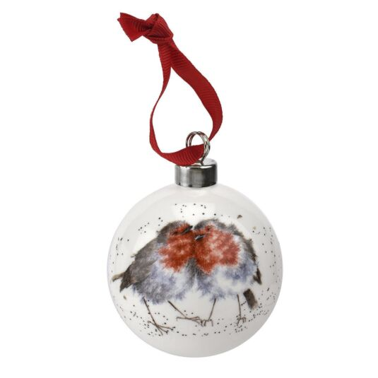 Royal Worcester Robins Christmas Bauble