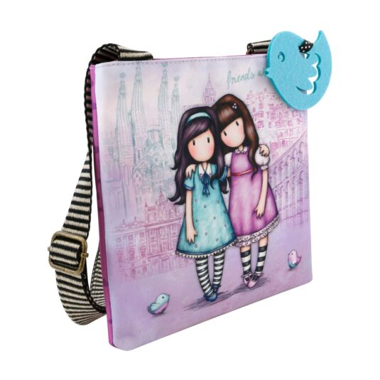 Cityscape Friends Walk Together Small Shoulder Bag