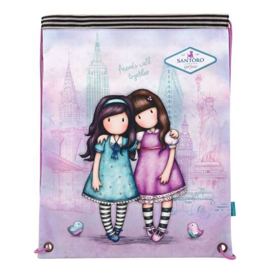 Cityscape Friends Walk Together Drawstring Bag