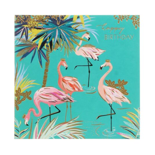 Flamingos & Palm Tree Birthday Card