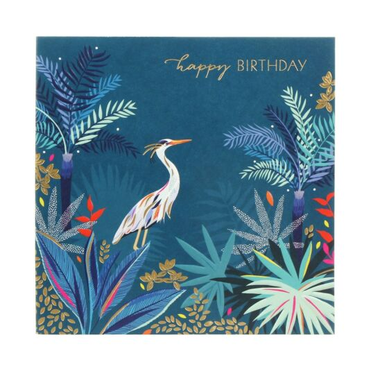 Heron In Jungle Birthday Card