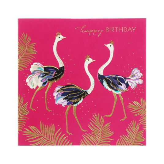 Ostriches In Crowns Birthday Card