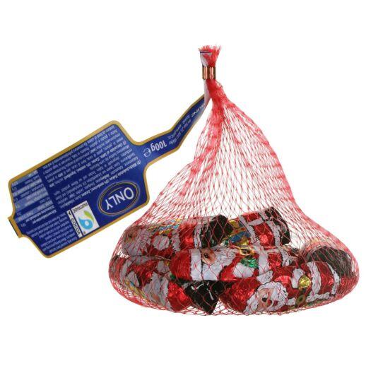 Net of Solid Milk Chocolate Foil Santas