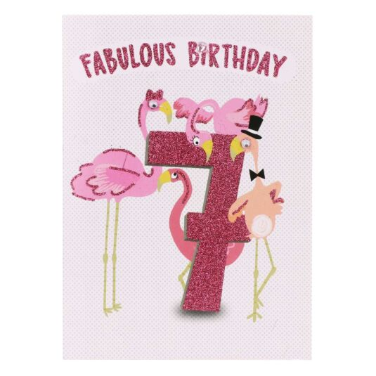 Flamingos 7th Birthday Card