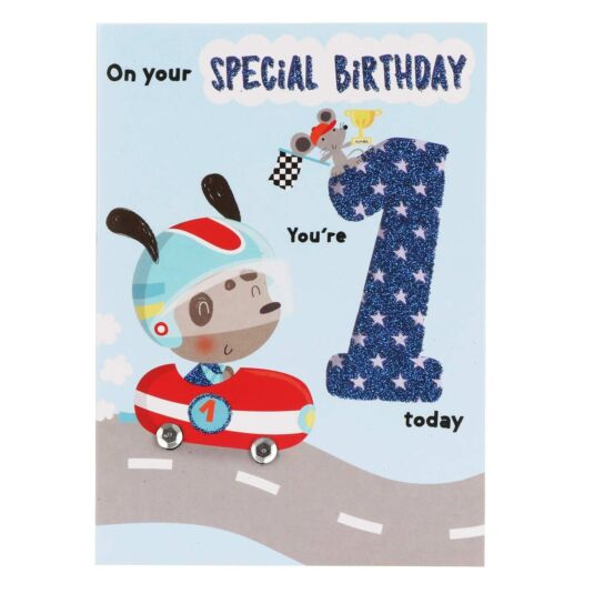 Blue '1 Today' Birthday Card