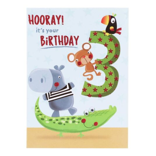 Blue 3rd Birthday Card