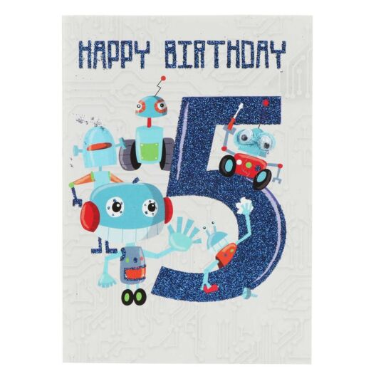 Robots 5th Birthday Card