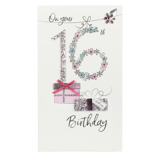 Glitter Gift 16th Birthday Card