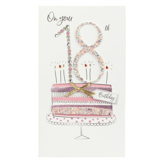 Pink Cake 18th Birthday Card