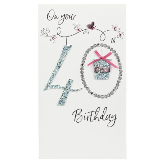 Glitter Gift 40th Birthday Card