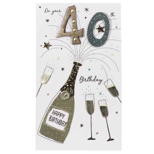 Exploding Champagne 40th Birthday Card