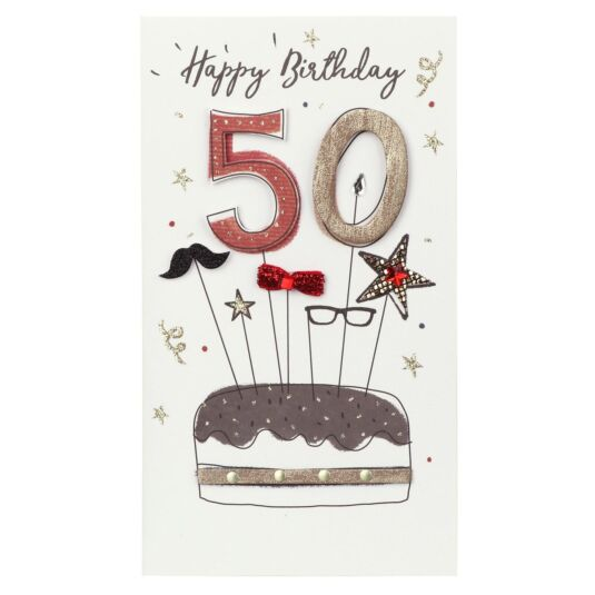 Cake & Accessories 50th Birthday Card