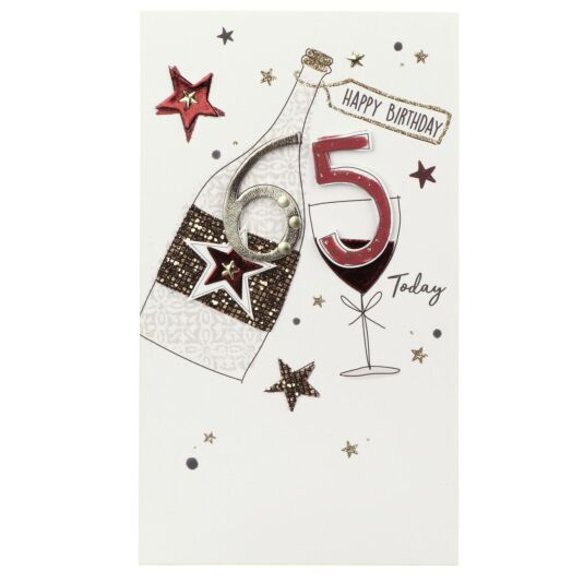 Wine Bottle & Glass 65th Birthday Card