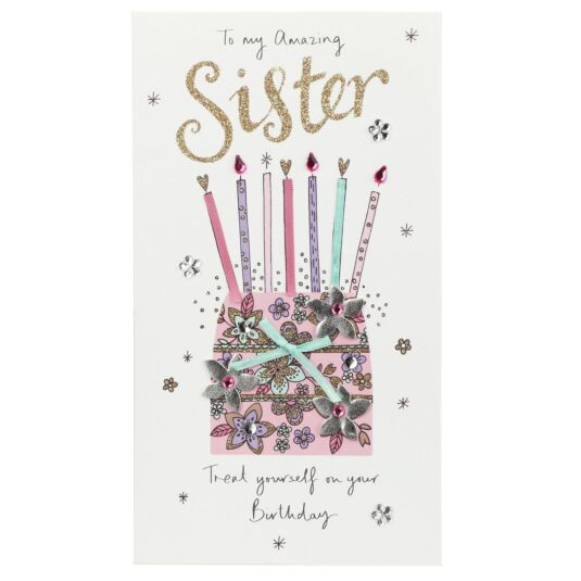 'Amazing Sister' Floral Cake Birthday Card