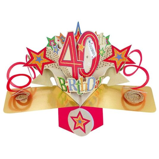 '40th Birthday' Pop Up Card
