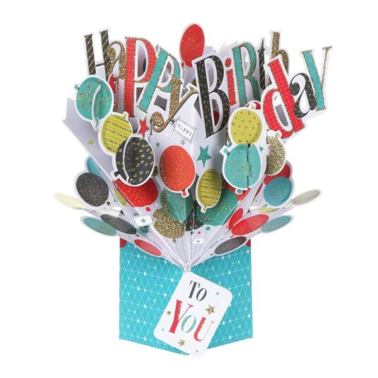 Balloons 'Happy Birthday' Pop Up Card