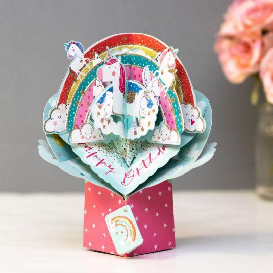 Rainbow & Unicorns 3D Pop Up Birthday Card