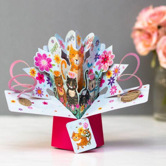 Cats 3D Pop Up Birthday Card