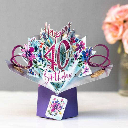 '40th Birthday' Flowers 3D Pop Up Card