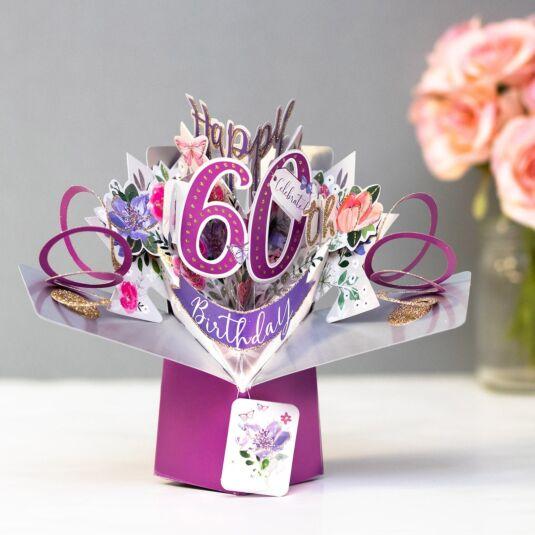 '60th Birthday' Flowers 3D Pop Up Card
