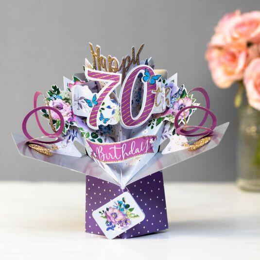 '70th Birthday' Flowers 3D Pop Up Card