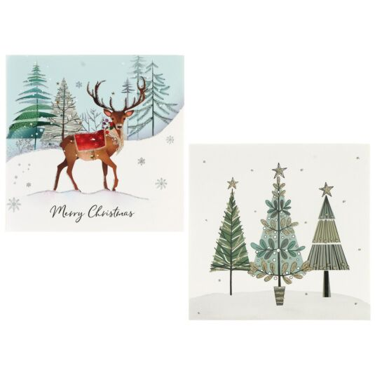 Winter Wonderland 'Woodland Deer / Christmas Trees' Box of 8 Christmas Cards