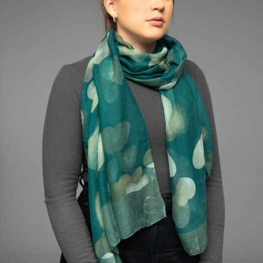 Green Dancing Hearts Scarf