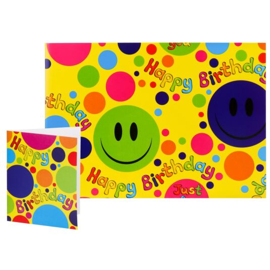Simon Elvin Smiley Faces Birthday Gift Wrap