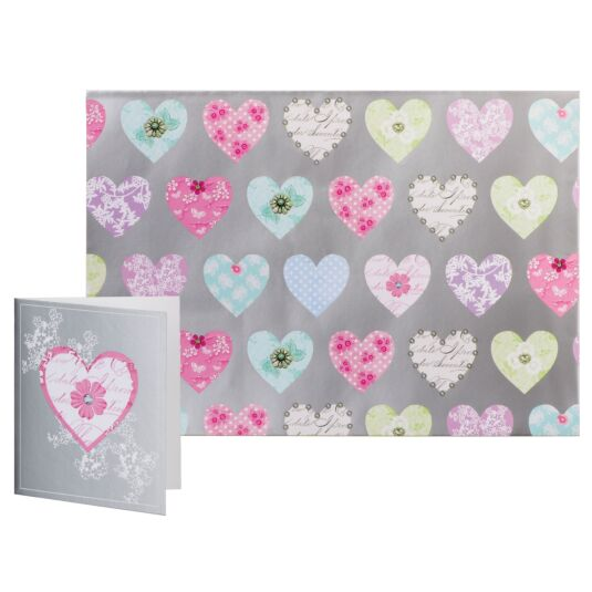 Simon Elvin Special Occasion Silver Hearts Gift Wrap