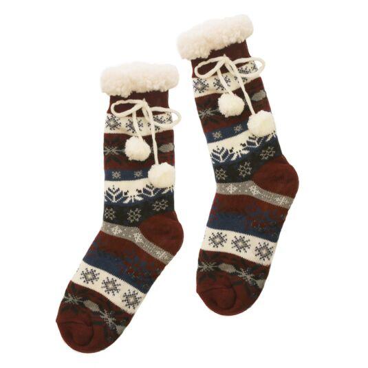 Maroon Sherpa Lined Socks