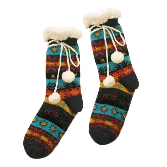Teal Sherpa Lined Socks