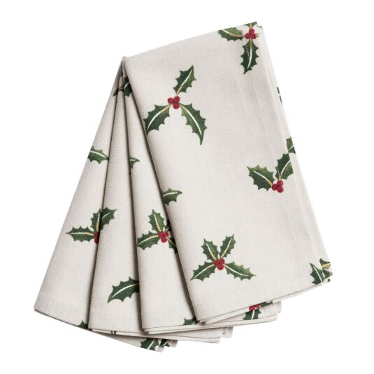 Christmas Holly & Berry Set of Four Napkins