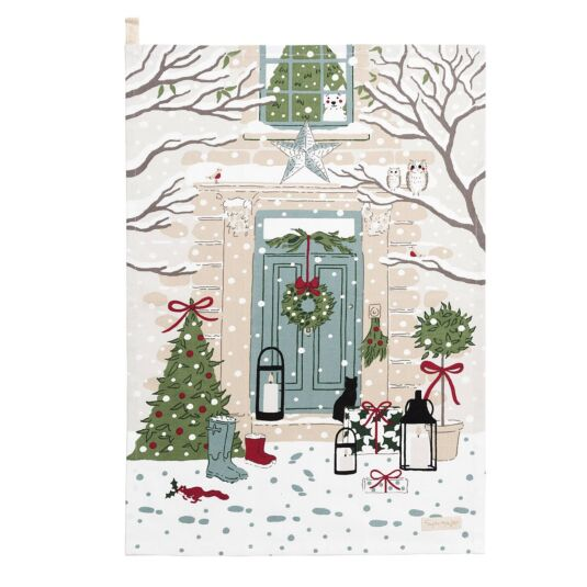 Christmas Holly & Berry Scene Tea Towel