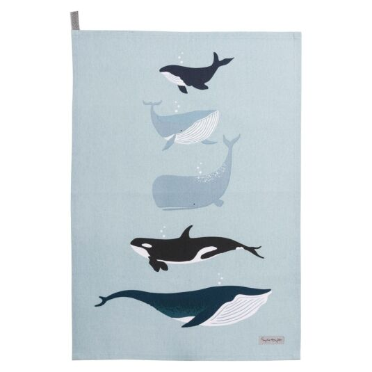 Whales Statement Tea Towel