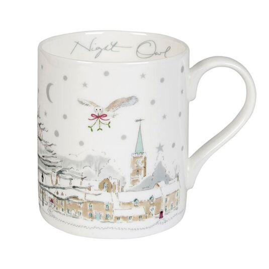 Night Owl Village Scene White Boxed Standard Mug