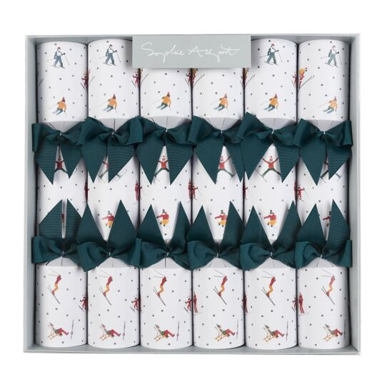 Skiing Set of 6 Christmas Crackers