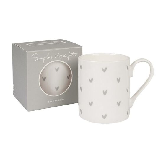 Hearts Grey Boxed Mug