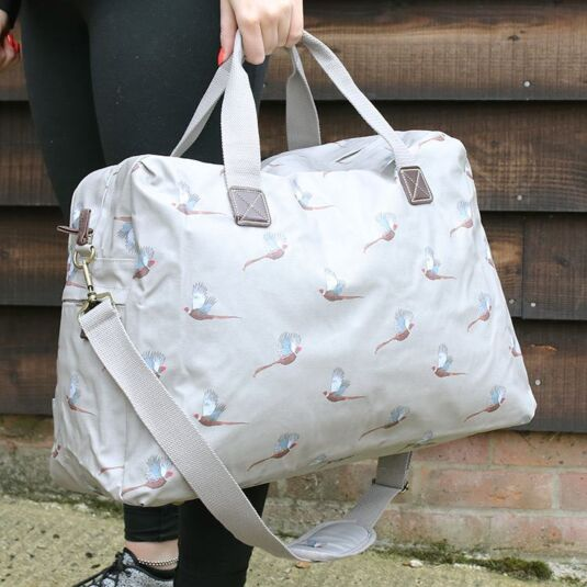 Pheasant Oilcloth Weekend Bag