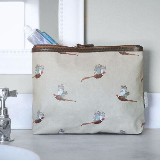 Pheasant Oilcloth Wash Bag