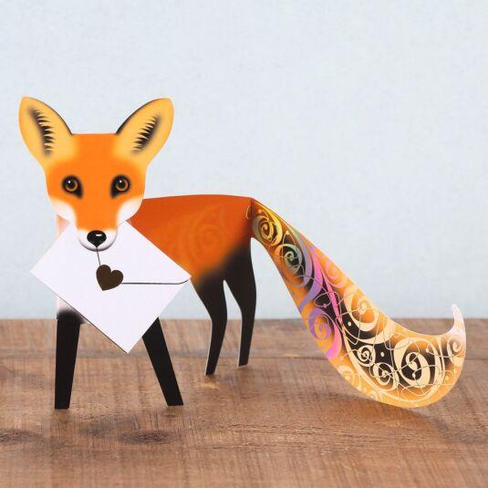 Foxy 3D Greetings Card