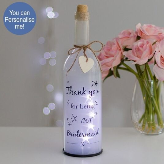 Bridesmaid Thank You White Light Up LED Bottle