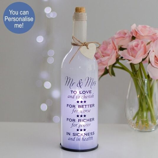 Mr & Mrs White Light Up LED Bottle