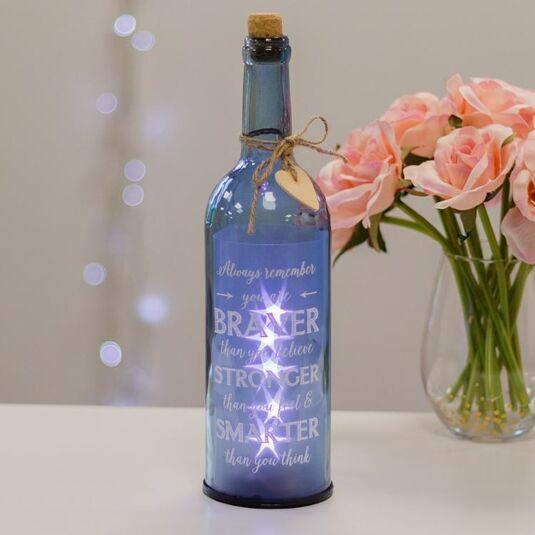 Remember you are Braver Blue Light Up LED Bottle