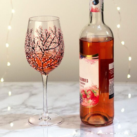'Japanese Garden Pink' Wine Glass