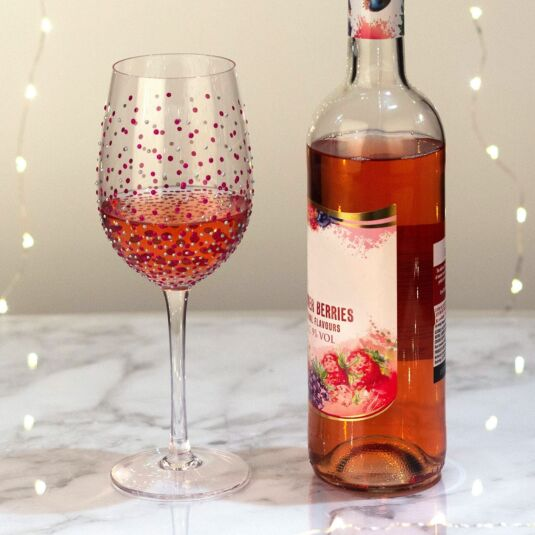 'Pink Dots' Wine Glass