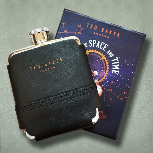Space & Time Black Brogue Hip Flask
