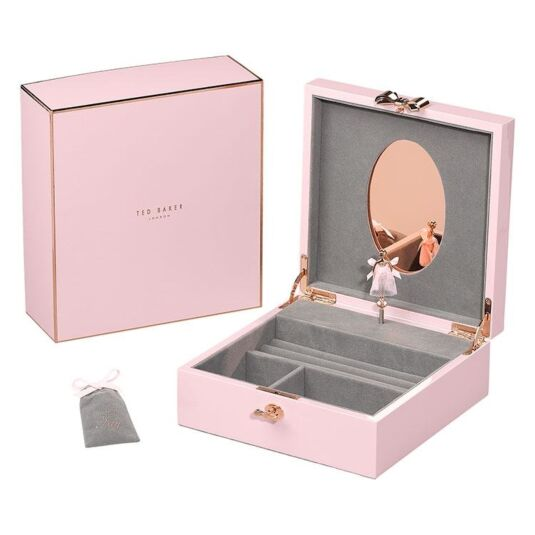 Pink Lacquered Jewellery Box with Musical Ballerina